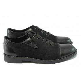 Спортни мъжки обувки - естествена кожа с естествен велур - черни - EO-4806
