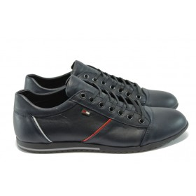 Спортни мъжки обувки - естествена кожа - сини - EO-4947