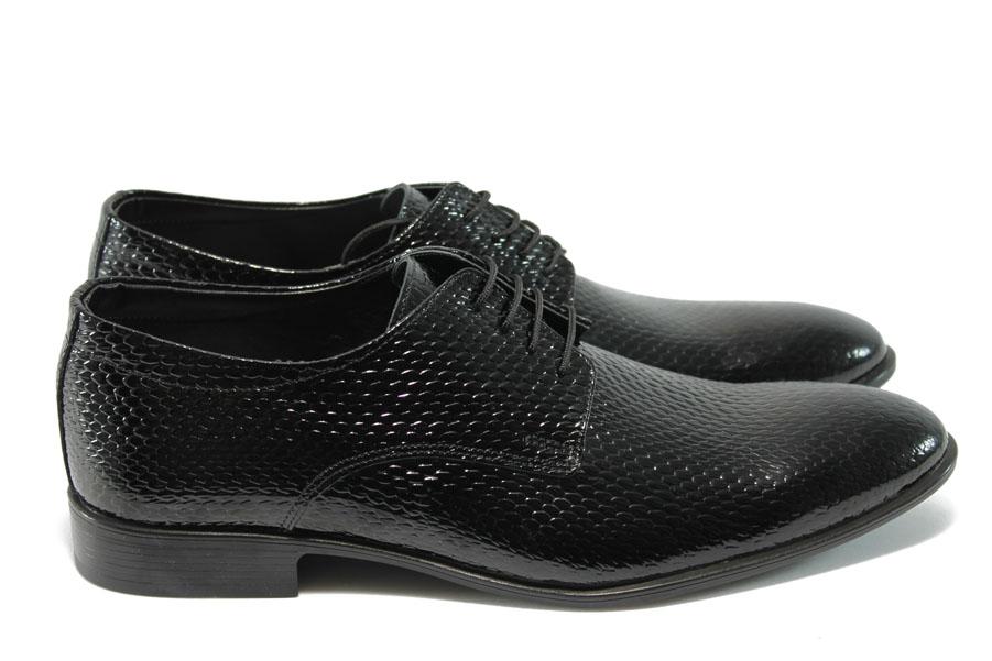 Елегантни мъжки обувки - естествена кожа-лак - черни - EO-4948