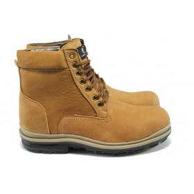 Мъжки боти - естествен набук - жълти - EO-5089