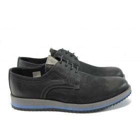 Мъжки обувки - естествен набук - черни - EO-5250