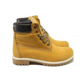 Мъжки боти - естествен набук - жълти - EO-5410
