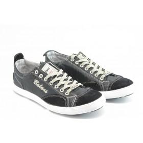 Спортни мъжки обувки - естествена кожа в съчетание с текстил - черни - EO-3066