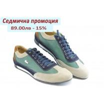 Спортни мъжки обувки - естествена кожа с естествен велур - зелени - EO-3078