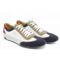 Спортни мъжки обувки - естествена кожа с естествен велур - бели - EO-3079