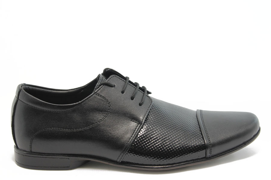 Мъжки обувки - естествена кожа с естествен лак - черни - EO-3161
