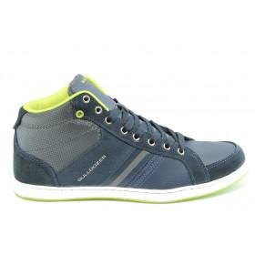 Спортни мъжки обувки - висококачествена еко-кожа - сини - EO-3237