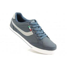 Спортни мъжки обувки - еко-кожа - сини - EO-3234