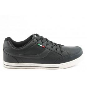 Спортни мъжки обувки - висококачествена еко-кожа - черни - EO-3238