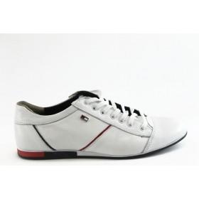 Спортни мъжки обувки - естествена кожа - бели - EO-3321