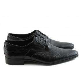 Елегантни мъжки обувки - естествена кожа-лак - черни - EO-3613