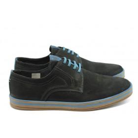 Спортни мъжки обувки - естествен набук - черни - EO-3324