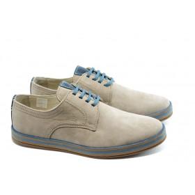 Спортни мъжки обувки - естествен набук - бежови - EO-3617