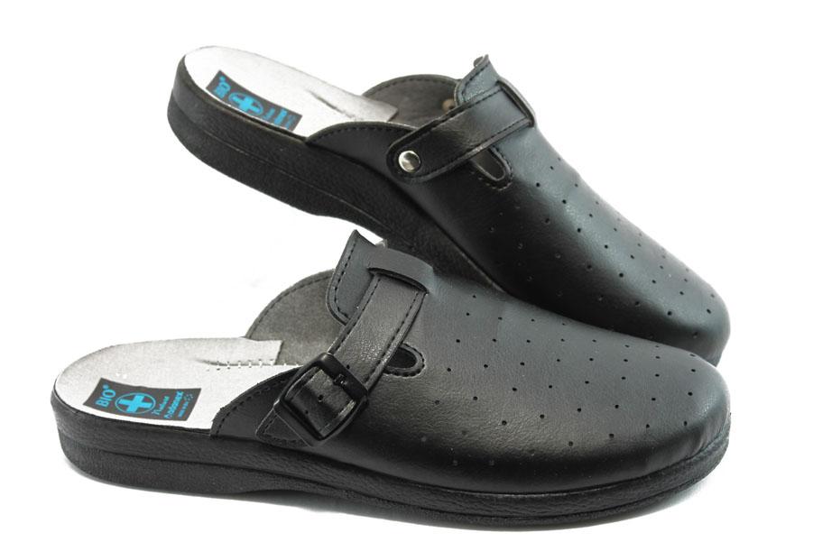 Мъжки чехли - висококачествена еко-кожа - черни - EO-8674