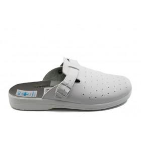 Мъжки чехли - висококачествена еко-кожа - бели - EO-3754