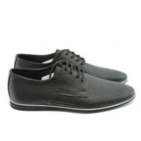 Мъжки обувки - естествена кожа с перфорация - черни - EO-3748