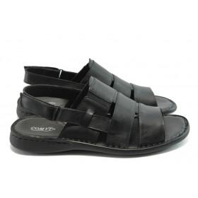 Мъжки сандали - естествена кожа - черни - EO-4039