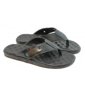 Мъжки чехли - естествена кожа - черни - EO-4204