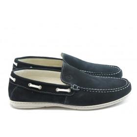Спортни мъжки обувки - естествен велур - сини - EO-4111