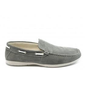 Спортни мъжки обувки - естествен велур - сиви - EO-4211