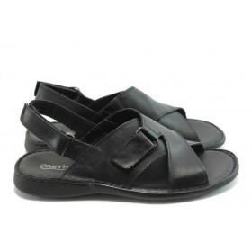 Мъжки сандали - естествена кожа - черни - EO-1094