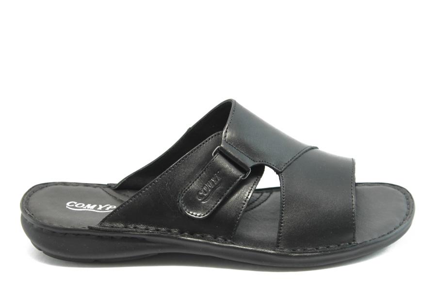 Мъжки чехли - естествена кожа - черни - EO-1401