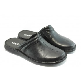 Мъжки чехли - естествена кожа - черни - EO-6353