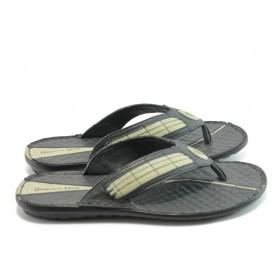 Мъжки чехли - естествена кожа - черни - EO-4250