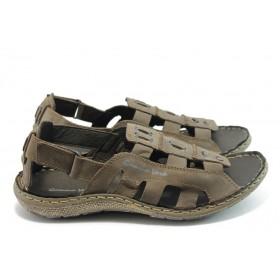 Мъжки сандали - естествена кожа - кафяви - EO-4121