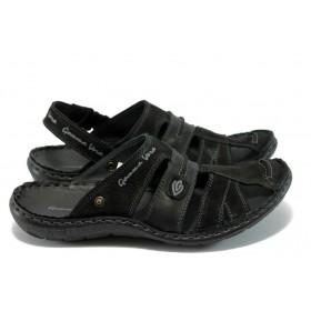 Мъжки сандали - естествена кожа - черни - EO-4122