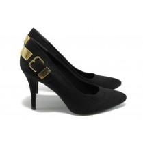 Дамски обувки на висок ток - висококачествен еко-велур - черни - EO-4712