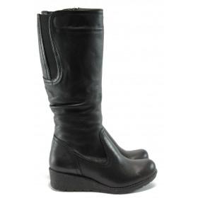 Дамски ботуши - естествена кожа - черни - EO-4779