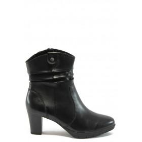 Дамски боти - естествена кожа - черни - EO-4809