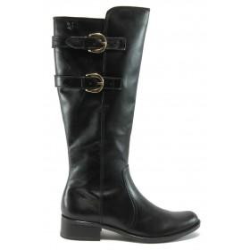 Дамски ботуши - естествена кожа - черни - EO-4812