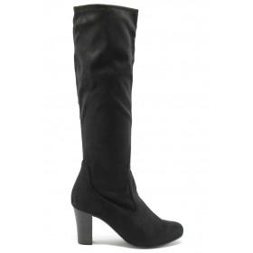 Дамски ботуши - висококачествен текстилен материал - черни - EO-7153