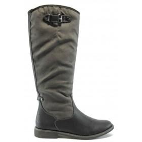 Дамски ботуши - висококачествена еко-кожа - черни - EO-4970