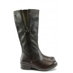 Дамски ботуши - висококачествена еко-кожа - кафяви - EO-5101