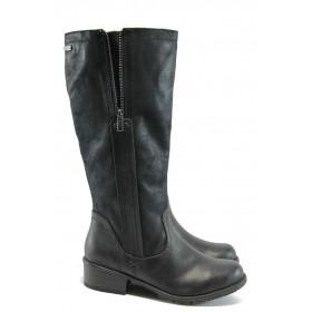Дамски ботуши - висококачествена еко-кожа - черни - EO-5205