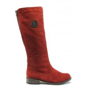 Дамски ботуши - естествен велур - червени - EO-5255