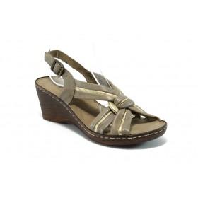 Дамски сандали - естествена кожа - бежови - EO-2969
