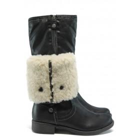 Дамски ботуши - висококачествена еко-кожа - черни - EO-5331
