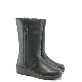 Дамски ботуши - естествена кожа - черни - EO-5553