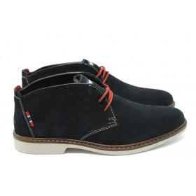 Мъжки обувки - естествен набук - тъмносин - EO-5636