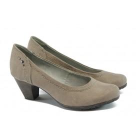 Дамски обувки на среден ток - висококачествен текстилен материал - бежови - EO-5641