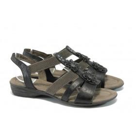 Дамски сандали - висококачествена еко-кожа - черни - EO-5642