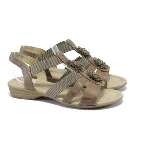 Дамски сандали - висококачествена еко-кожа - кафяви - EO-5643