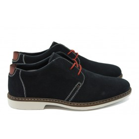 Мъжки обувки - естествен велур - тъмносин - EO-5645
