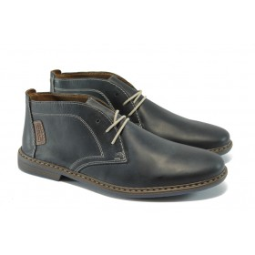 Мъжки обувки - естествена кожа - тъмносин - EO-5653