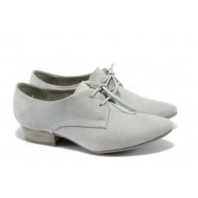 Дамски обувки на среден ток - висококачествен еко-велур - сиви - EO-5710