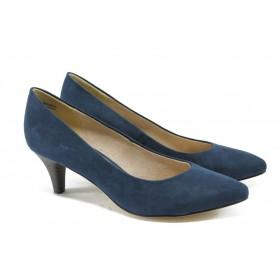 Дамски обувки на среден ток - висококачествен еко-велур - сини - EO-5707